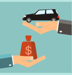 Hands with car and money bag exchanging concept vector