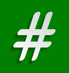hashtag sign paper whitish vector image