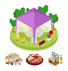 Isometric bbq picnic party in tent summer camp vector