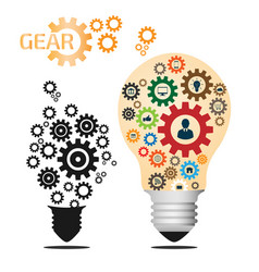light bulb and gear with business icons pattern vector image vector image