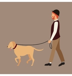 Man bearded with hat walking dog pet vector