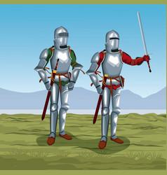 medieval warriors on battlefield vector image
