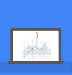 Note book with rocket pencil and graph in monitor vector
