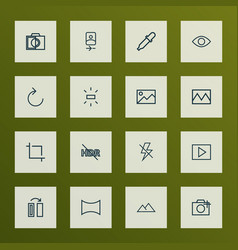 Picture icons line style set with eyedropper vector