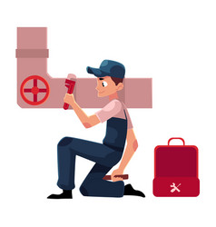 plumbing specialist with wrench and toolbox vector image vector image