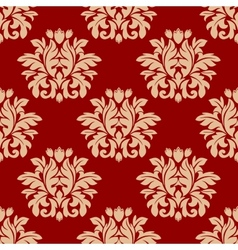 Red damask style arabesque pattern vector image vector image