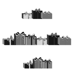 Set of different gray wrapped gift boxes Flat vector image