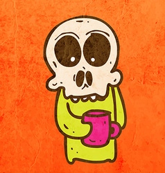 Skeleton with Coffee Cartoon vector image