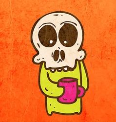 Skeleton with Coffee Cartoon vector image vector image