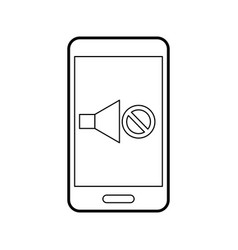 smartphone with speaker sound off isolated icon vector image