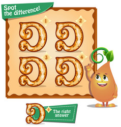 Spot the difference letters d vector