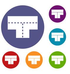 Tshaped crossroad icons set vector
