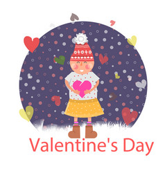 Valentines day girl with heart vector