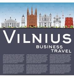 Vilnius Skyline with Gray Landmarks Blue Sky vector image vector image