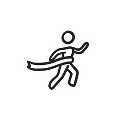 Winner crossing finish sketch icon vector