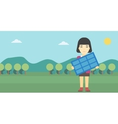 Woman holding solar panel vector