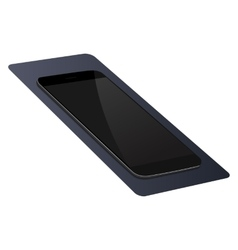 Realistic black smartphone on a blue mat vector
