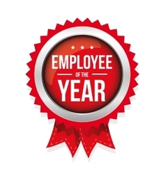 Employee of the year badge with ribbon vector