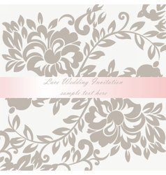 Wedding invitation card with lace lily flower vector