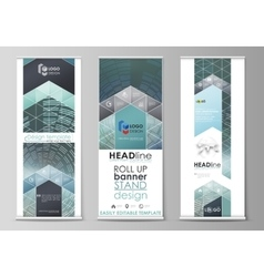 Set of roll up banner stands flat design vector