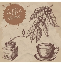 A branch of coffee vintage coffee grinder and a vector image