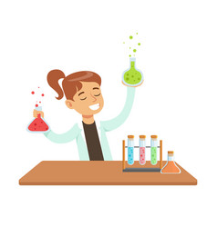 Girl chemist and chemical experiment kid doing vector