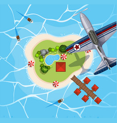 top view of airplane flying over island vector image