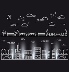 Line art landscapes concepts on black background vector