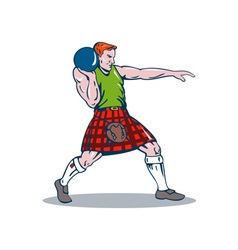 Scottish playing shotput vector