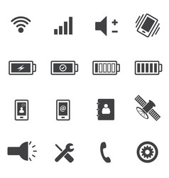 Phone and sign of power icons set vector