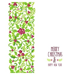 Merry christmas watercolor holly berry pattern vector