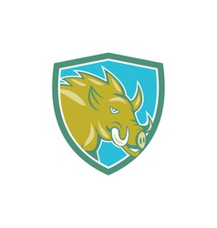 Razorback head charge shield cartoon vector