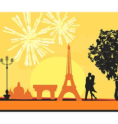 Eiffel tower and fireworks vector