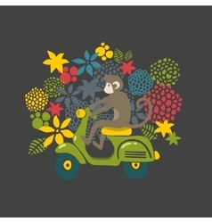 Monkey on the vintage scooter vector