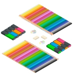 Color pencils multicolored highlighters vector