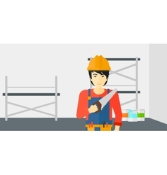 Smiling worker with saw vector