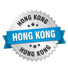 Hong kong round silver badge with blue ribbon vector