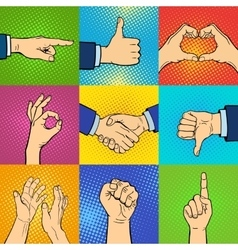 Hands pop art vector image
