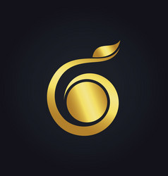 Bio gold leaf ecology abstract logo vector