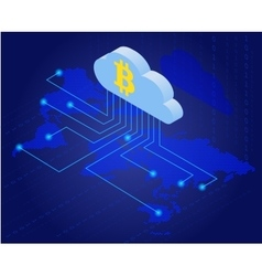 Bitcoin in cloud bitcoin mining isometric flat vector