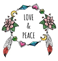 Boho wreath with sign vector image vector image