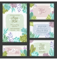 Cactus Wedding Cards Set vector image