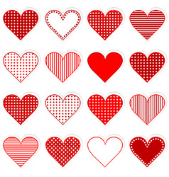 Collection of cute hearts stickers vector