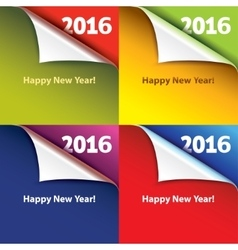 Colored stickers with bent corners Happy New Year vector image