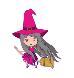 cute witch flying in broom with magenta dress with vector image