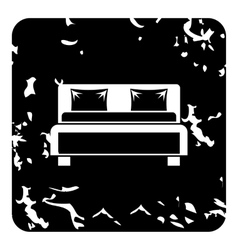 Double bed icon grunge style vector