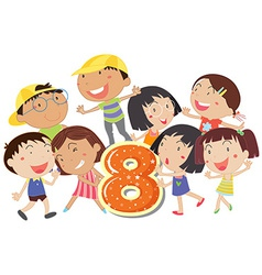 Eight playful kids vector