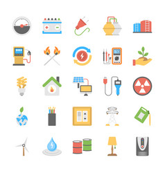 Flat power and energy icons set vector