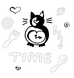 Free hand cat clock vector