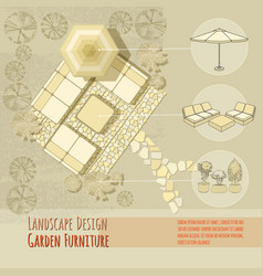 garden design lounge chairs umbrella top view vector image vector image